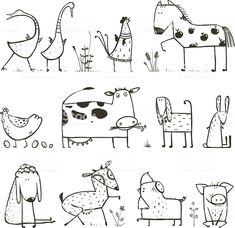 Funny Cartoon Farm Domestic Animals Collection for. - - Funny Cartoon Farm Domestic Animals Collection for… – - Doodle Drawings, Doodle Art, Easy Drawings, Funny Drawings, Coloring For Kids, Coloring Books, Coloring Pages, Colouring, Animal Sketches