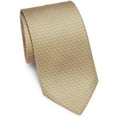 Salvatore Ferragamo Horseshoe-Print Silk Tie (615 BRL) ❤ liked on Polyvore featuring men's fashion, men's accessories, men's neckwear, ties, mens yellow tie, mens patterned ties, mens ties, mens leopard print tie and mens silk ties