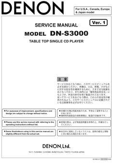 DENON DN-S3000 Service Manual – Spared Parts UK Japan Model, Manual, Digital, Textbook