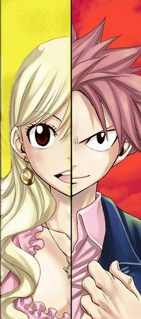 I really want to credit this artist this is awesome XD Lucy-chan and Natsu-Chan from Fairy Tail *Loving this* I love how it captures their emotion *fangirling*