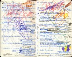 """""""I do use the Moleskine ones now, just because they stay flat when you open them. Most notebooks want to close."""" Pages from David Mitchell's notebook. Wreck This Journal, Journal Art, Art Journals, Diary Notebook, Notebook Ideas, Creative Diary, David Mitchell, Men Of Letters, Self Actualization"""