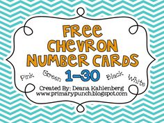 FREE number cards to label things in the classroom.  good for making file folder games too.