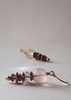Faceted Pink Quartz Amethyst Watermelon Tourmaline 14k Gold Fill Earrings by Belle Bijou Atelier