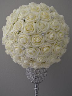IVORY Flower Ball with Brooch Premium Real Touch by KimeeKouture
