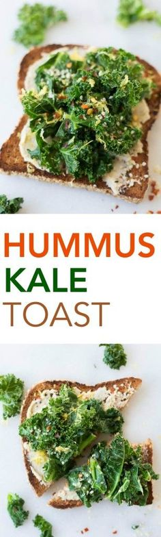 Hummus Kale Toast: a delicious gluten free and vegan breakfast or snack! Flavors like garlic, lemon, and red pepper flakes make for a truly spectacular toast!    http://fooduzzi.com recipes