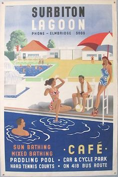 A poster for the Surbiton Lagoon Swimming Pool - no longer in existence which is a real shame London Poster, Kingston Upon Thames, British Travel, Tourism Poster, Vintage Travel Posters, Retro Posters, Greater London, Historical Images, South London