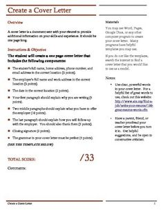 Cover Letter Assignment.  Explains the assignment- to write a cover letter.  A basic rubric is included (33 points).  The 2nd page is a template or model students may use.