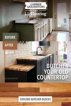 Diy Kitchen Remodel, Kitchen Upgrades, Kitchen Redo, New Kitchen, Kitchen Design, Home Renovation, Home Remodeling, Butcher Block Countertops, Solid Surface
