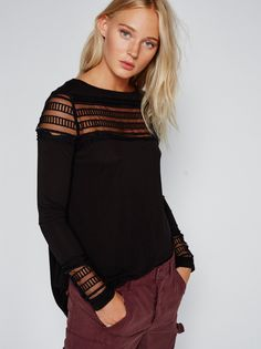 Roxie Tee | Irresistibly soft long sleeve tee with sheer mesh panels along the front and back and on the sleeve cuffs. Subtle smocked detail in back. High-low hem for an effortless shape.