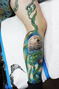 otter tattoo | Tattoos  David Dettloff  Page 3  Otter and Seaweed tattoo the kelp is such a beautiful unifying detail