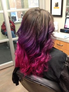 My new pink and purple ombre hair