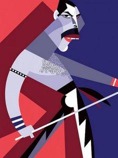 Cubist caricatures by Argentinian artist, Pablo Lobato Art And Illustration, Portrait Illustration, Arte Pop, Arte Pink Floyd, Doodle Drawing, Photo Portrait, Poster Design, Art Graphique, Freddie Mercury