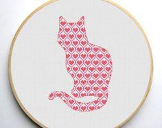 Cat Silhouette Cross Stitch Pattern Modern by CrossStitchForYou