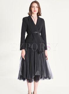 Shop British Lapel Blazer & High Waist Mesh Pleated Skirt at EZPOPSY. Mesh Skirt, Pleated Skirt, High Waisted Skirt, How To Wear Blazers, Two Piece Dress, Party Fashion, Minimalist Fashion, Fashion Online, Diva