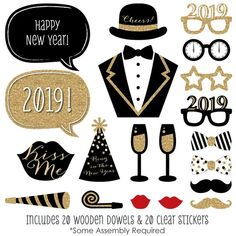 New Year's Eve Photo Booth Props - Gold Photobooth Kit with Custom Talk Bubble - 2019 Photo Booth Accessories - 20 Photo Props and Dowels New Years Eve Dinner, New Years Eve Party, Photo Booth Backdrop, Photo Props, Props Photobooth, Planes Party, Big Dot Of Happiness, New Year Photos, Clear Stickers