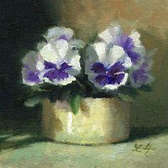 "Daily Paintworks - ""Mini Pansies"" - Original Fine Art for Sale - © Linda Jacobus"