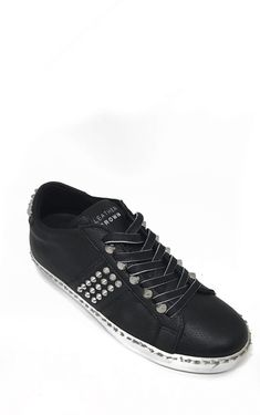 Black I Conic Sneakers with Studs by Leather Crown