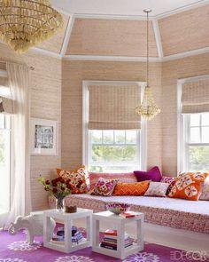 Pink and orange. Window seat.