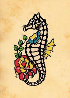 Old School Tattoo hippocampe Flash Art impression 5 x 7 ou 8 x 10 Seahorse Tattoo, Seahorse Art, Mermaid Tattoos, Seahorses, Octopus Tattoos, Tatto Old, Tatoo Art, Rose Tattoos, New Tattoos