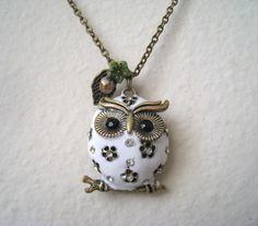 White Puffed Owl Necklace by lunashineshine on Etsy, $25.00