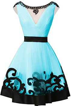 Chengzhong Sun Women InvisCSle V-neck Waist Homecoming Party Dresses Pool *** Click image for more details.