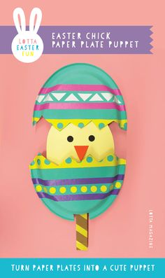 This eggs-cellent Easter chick puppet is made almost entirely from paper plates.