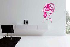 Wall Vinyl Sticker Decals Mural Room Design Pattern Fashion Woman Face Hair bo526