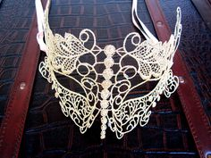 LACE butterfly MASK gold sexy halloween costume eye cat mask. $75.00, via Etsy.