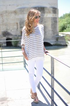 White and taupe stripe shirt from Mango, white jeans, and wedge sandals
