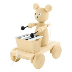 Wooden Pull Along Bear in Car – Faith Laine