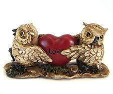Owl Ornament Bird Figurine Garden Statue Sculpture Art Pair with Love Heart 1518