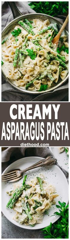 Creamy Asparagus Pasta Recipe - A creamy, yet healthy veggie loaded protein-packed pasta with asparagus and peas, all tossed in a lightened-up cream sauce! (italian pasta recipes with chicken) Pastas Recipes, Healthy Pasta Recipes, Healthy Pastas, Vegetarian Recipes, Chicken Recipes, Dinner Recipes, Cooking Recipes, Barilla Recipes, Summer Pasta Recipes