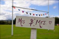 Mrs and Mrs same sex wedding rugby posts