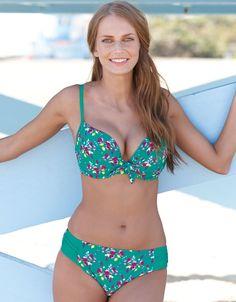 Tahiti Bikini Top in Green Floral by Free