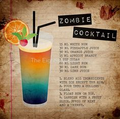 A spooky-good drink. The Zombie Cocktail is a crowd-pleasing Halloween drink perfect for your Halloween Party. A delicious fruity cocktail with rum and fruit juices. Bar Drinks, Cocktail Drinks, Yummy Drinks, Cocktail Recipes, Alcoholic Drinks, Beverages, Bourbon Drinks, Fun Cocktails, Halloween Cocktails