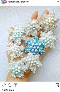 Image may contain: 1 person Beaded Ornaments, Ornament Crafts, Felt Ornaments, Bead Crafts, Jewelry Crafts, Bead Embroidery Jewelry, Beaded Embroidery, Beaded Jewelry, Fabric Beads