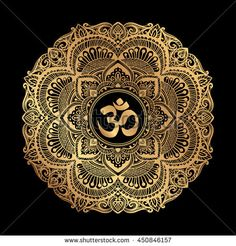Diwali Om symbol with mandala. Round golden Pattern on black background. Hand drawn Ornate Indian pattern decorative vector elements - buy this stock vector on Shutterstock & find other images. Mandala Art, Mandala Sun Tattoo, Aum Tattoo, Mandala Motif, Mandala Painting, Mandala Design, Chakra Tattoo, Yin Yang, Om Art