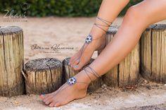 Gray Beach Wedding Beaded Crochet Barefoot Sandals Beach by ZHAVI