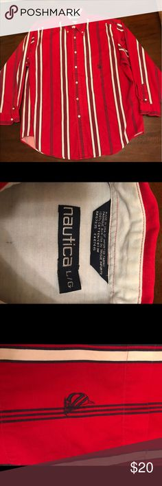 Vintage Nautica red,white and black stripes Really nice condition!,has a small hole (last picture) really clean well kept. Size XL Nautica Shirts Casual Button Down Shirts