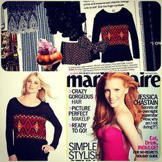 Kensie printed sweater, as seen in Marie Claire December 2012