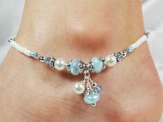 Anklet Ankle Bracelet with triple dangle cluster: clear/light blue Czech glass donuts, white glass pearls, aqua Swarovski crystals, and pearl