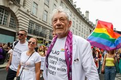 Sir Ian McKellen walking through Piccadilly Circus during Pride. Photograph: Tristan Fewings/Getty Images for Pride in London Club Chelsea, Chelsea Fans, Chelsea Football, London Pride, Mayor Of London, Pink Cowboy Hat, Sir Ian Mckellen, Piccadilly Circus, Boris Johnson