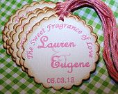 12 Pink Shabby Chic Baby Announcement Gift Tags Favors Labels Cards Bridal Baby Shower Wedding Birthday Anniversary- Custom Color Wording