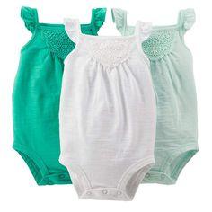Carter's 3-pk. Crochet Tank Bodysuits - Baby Girl, Size: