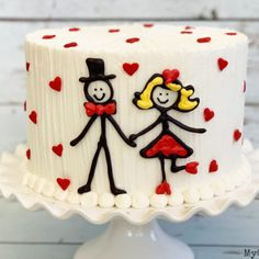 This Sweet Stick Figure Couple cake design is SO easy and cute! Perfect for Valentine's Day cakes, anniversary cakes, and more! From My Cake School's section of Free Cake Video Tutorials! Anniversary Cake Designs, Happy Anniversary Cakes, Anniversary Cupcakes, Cake Decorating Classes, Cake Decorating Techniques, Aniversary Cakes, Valentines Day Cakes, Engagement Cakes, Engagement Parties