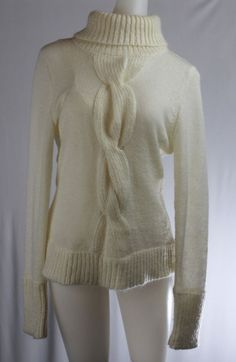 INC for Macy's Off White Turtleneck Long Sleeve Mohair Sweater Cable Knit #INCInternationalConcepts #TurtleneckMock