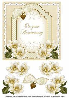 Cream Magnolia Anniversary Fancy 7in Decoupage Topper on Craftsuprint - Add To Basket!