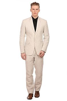 Wintage Men's 100% Linen Notched Lapel All Season Natural Color Suit,XX-Large / 46
