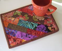 Quilted Mug Rug Snack Mat Coaster MiniPlacemat by PeppersAttic, $12.00
