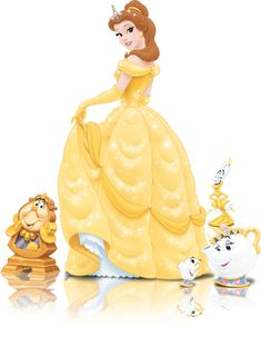 Belle -  Beauty and the Beast 1991 --with friends!  Chips, Mrs. Potts, Lumiere, Cosgrove